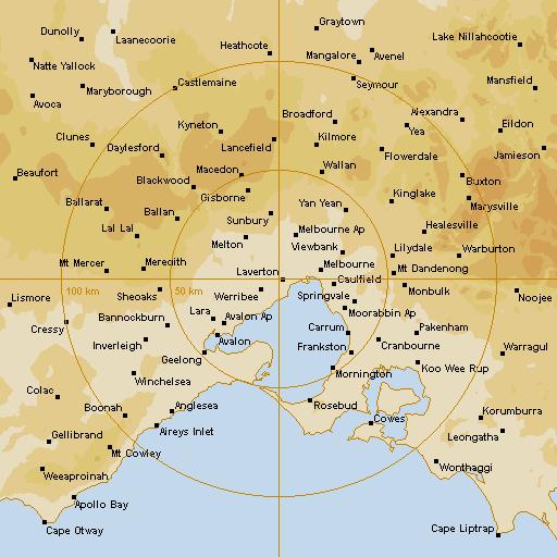 BoM Melbourne Radar Loop - Rain Rate - IDR023