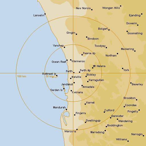 BoM Perth Radar Loop - Rain Rate - IDR123