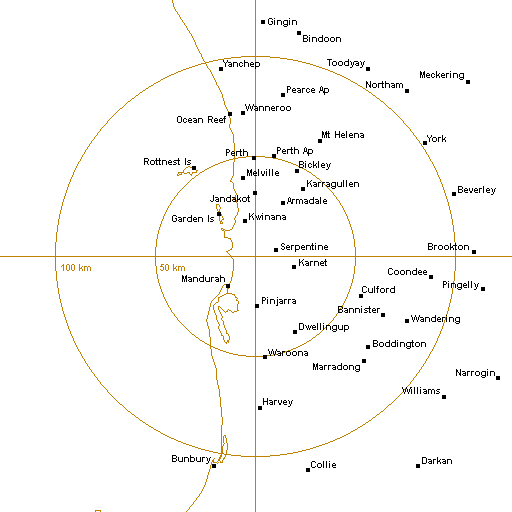 BoM Perth (Serpentine) Radar Loop - Rain Rate - IDR703