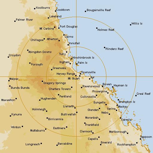 BoM Townsville (Hervey Range) Radar Loop - Rain Rate - IDR731