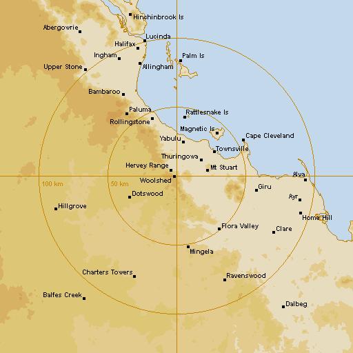 BoM Townsville (Hervey Range) Radar Loop - Rain Rate - IDR733